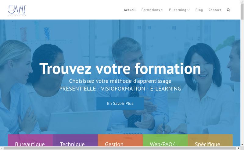 Capture d'écran du site de AMS Formation