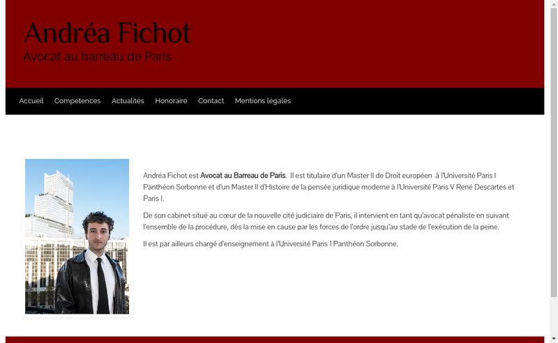 Capture d'écran du site de Andrea Fichot