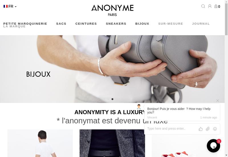 Capture d'écran du site de Anonyme Paris