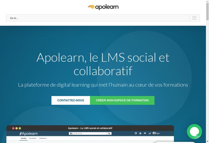 Capture d'écran du site de Apolearn