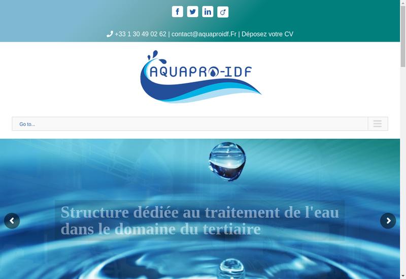 Capture d'écran du site de Aquapro Idf