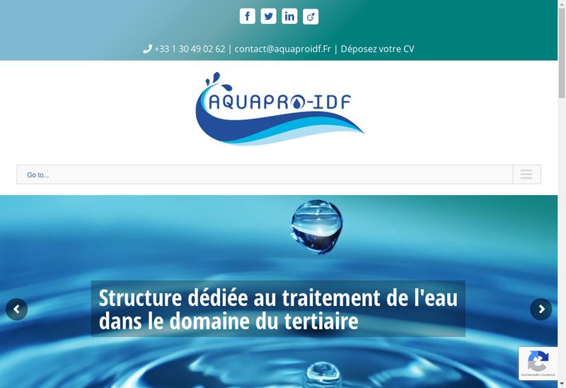 Capture d'écran du site de Aquapro-Idf