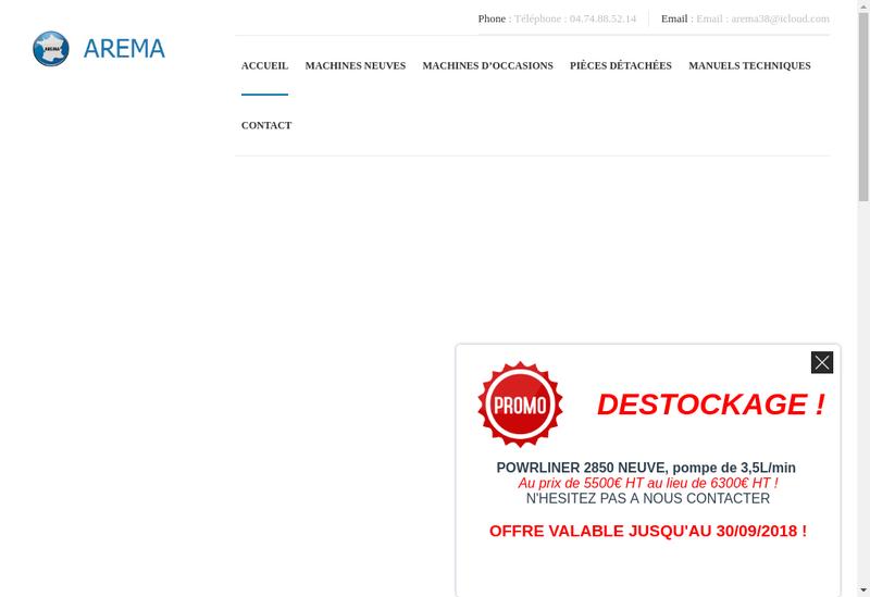 Capture d'écran du site de Arema