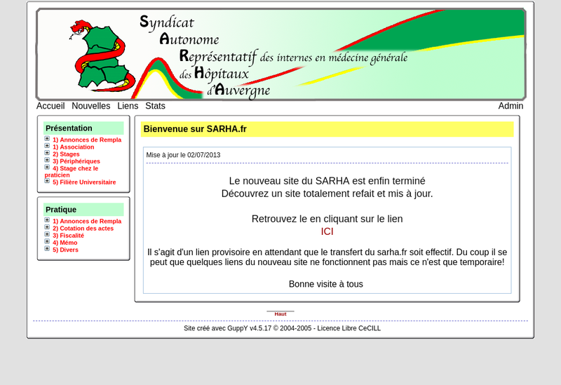 Capture d'écran du site de Pharmacie du Pont
