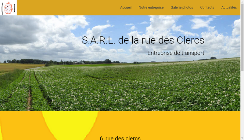 Capture d'écran du site de SARL de la Rue des Clercs