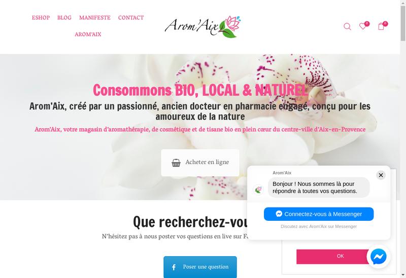 Capture d'écran du site de Arom'Aix