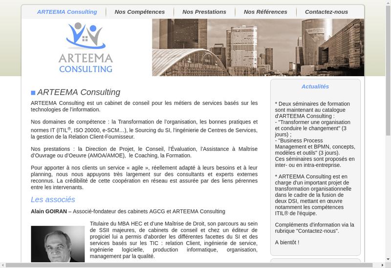 Capture d'écran du site de Arteema Consulting