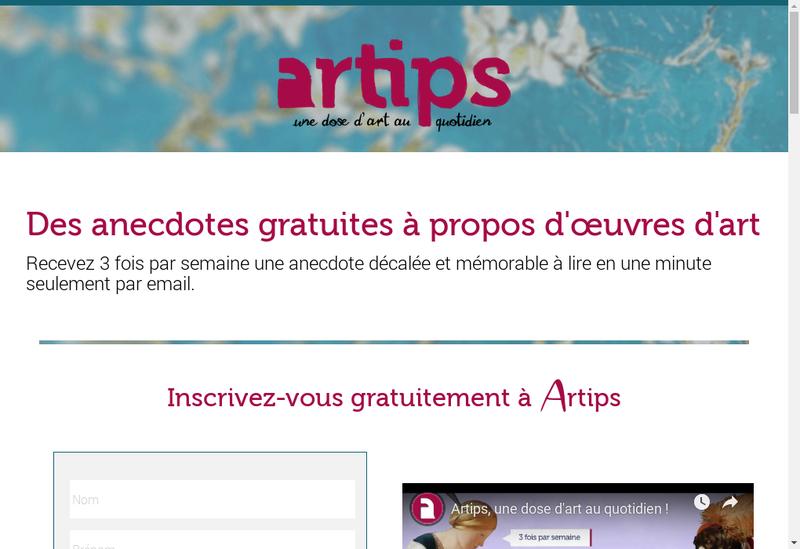 Capture d'écran du site de Artips