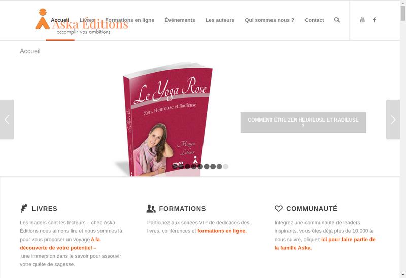 Capture d'écran du site de Aska Editions - Aska Formations