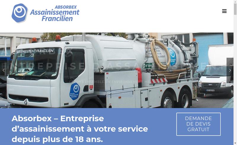 Capture d'écran du site de Absorbex Assainissement Francilien