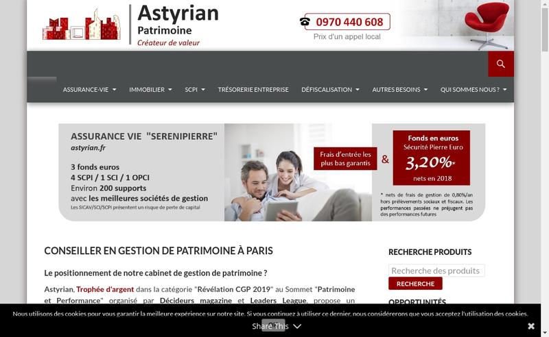 Capture d'écran du site de Astyrian Patrimoine
