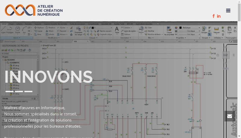Capture d'écran du site de Atelier de Creation Numerique