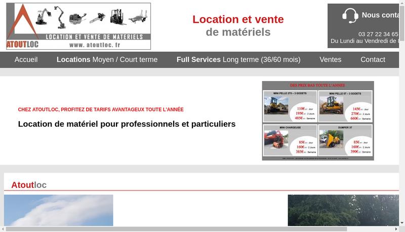 Capture d'écran du site de Atoutloc - Locations de Materiels