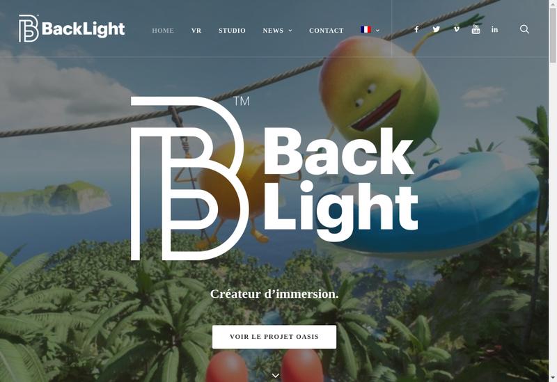 Capture d'écran du site de Backlight Studio