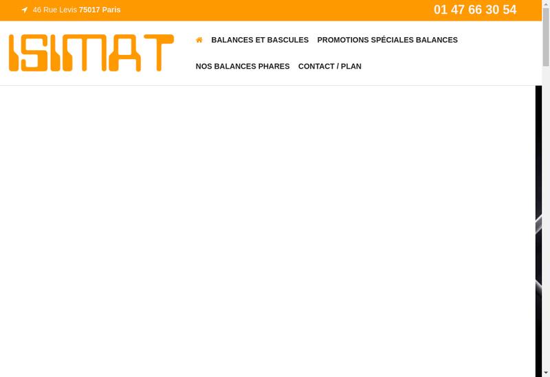 Capture d'écran du site de Isimat