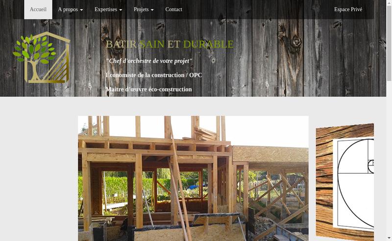 Capture d'écran du site de Batir Sain et Durable
