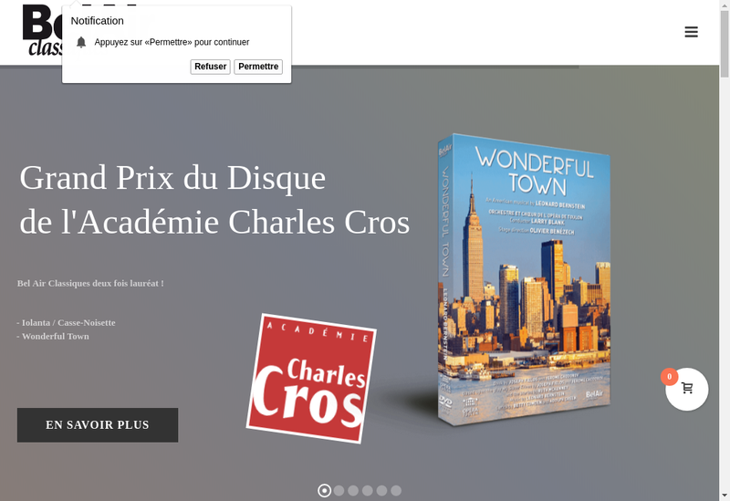Capture d'écran du site de Bel Air Classiques