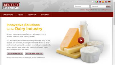 Capture d'écran du site de Bentley Instruments