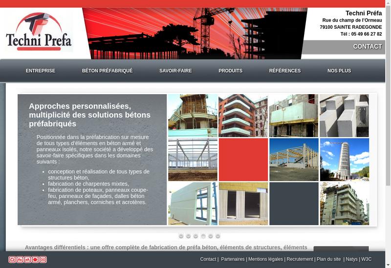 Capture d'écran du site de Techni Prefa