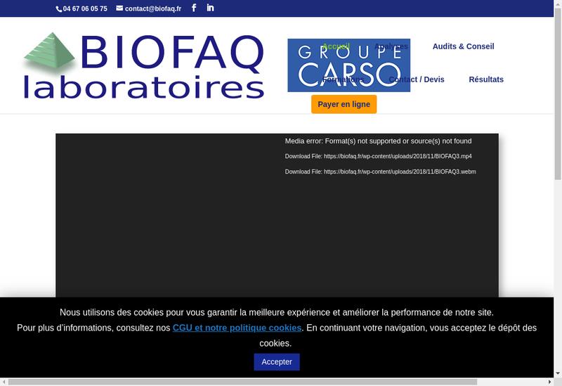 Capture d'écran du site de Biofaq Laboratoires