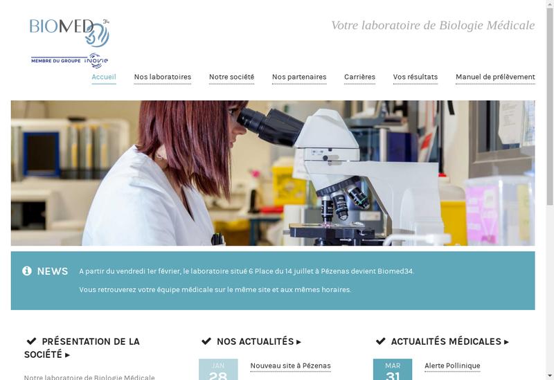 Capture d'écran du site de Biomed34
