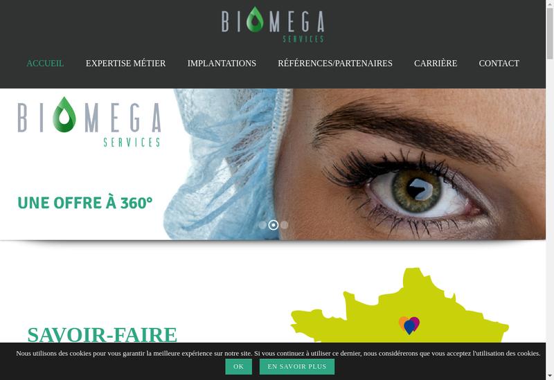 Capture d'écran du site de Biomega Services