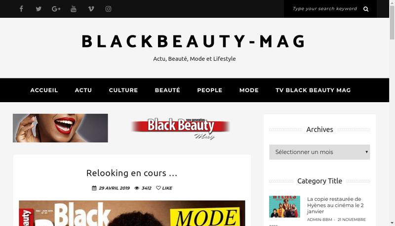 Capture d'écran du site de Black Beauty Mag