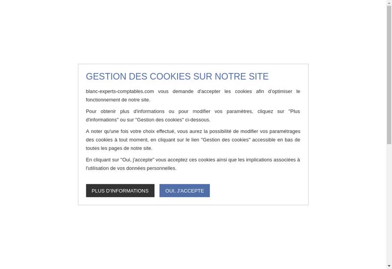 Capture d'écran du site de Blanc Experts Comptables