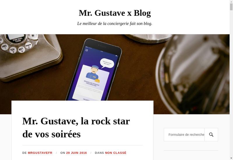 Capture d'écran du site de Mr Gustave