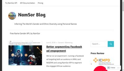 Capture d'écran du site de Namsor