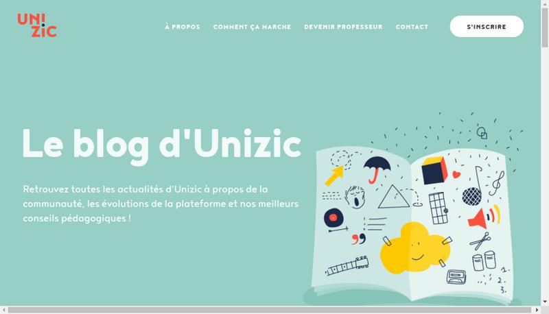 Capture d'écran du site de Unizic