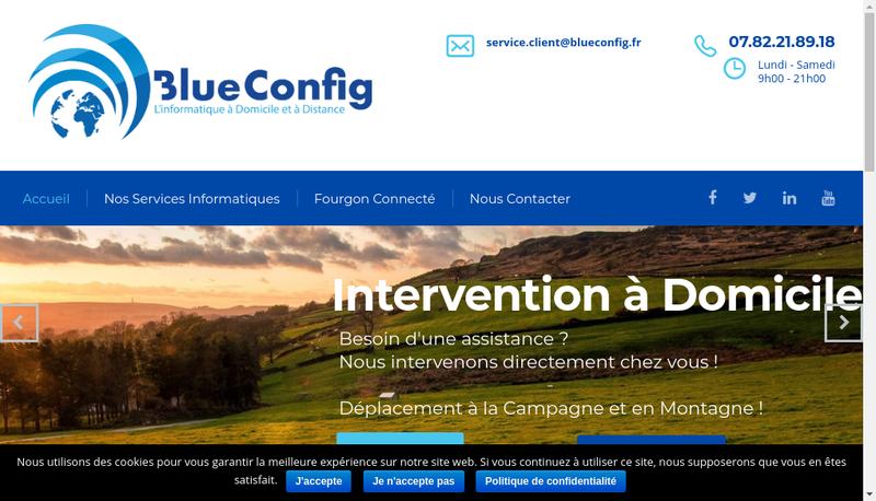Capture d'écran du site de Blueconfig