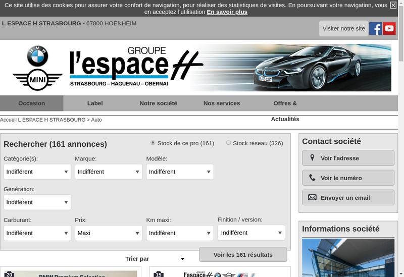 Capture d'écran du site de L'Espace H
