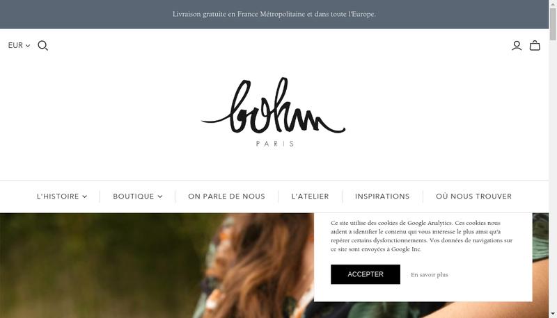 Capture d'écran du site de Bohm