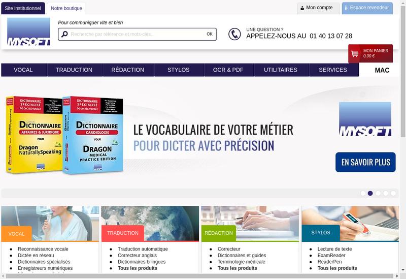 Capture d'écran du site de Mysoft