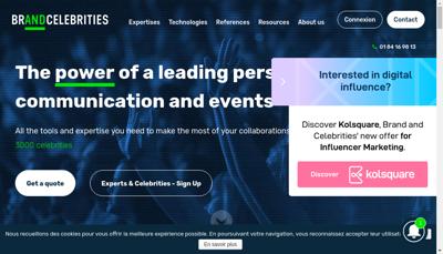 Capture d'écran du site de Brand & Celebrities
