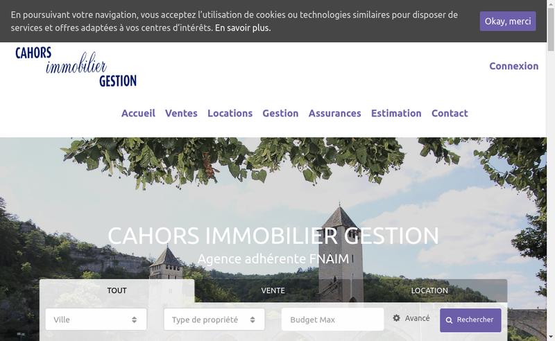 Capture d'écran du site de Cahors Immobilier Gestion