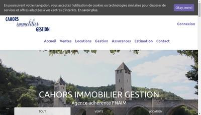 Site internet de Cahors Immobilier Gestion