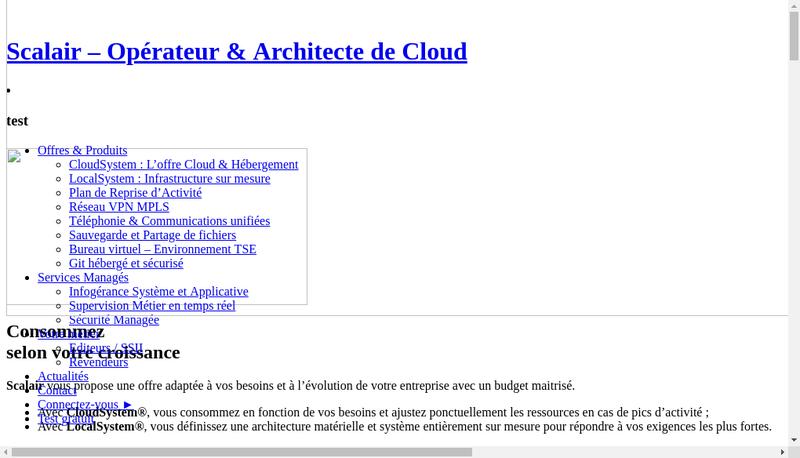 Capture d'écran du site de Scalair