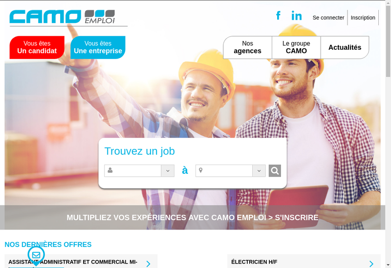 Capture d'écran du site de Camo Interim