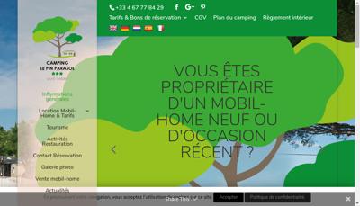 Capture d'écran du site de Le Pin Parasol