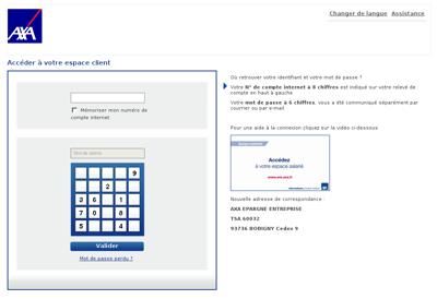 Capture d'écran du site de Axa Epargne Entreprise