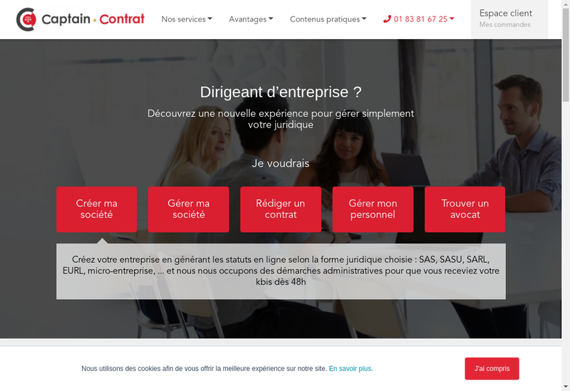 Capture d'écran du site de Captain Contrat