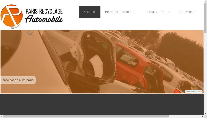 Capture d'écran du site de Casse Auto Paris