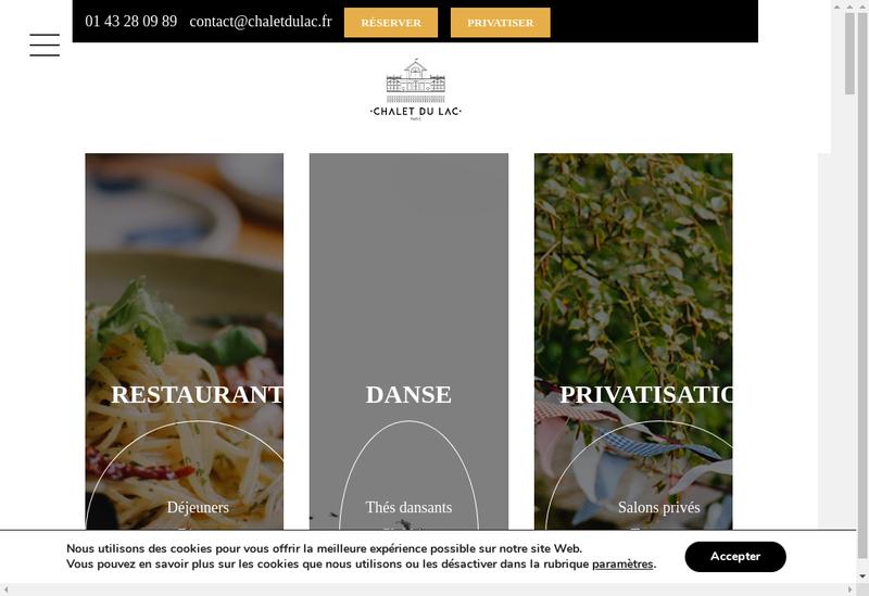 Capture d'écran du site de Nouveau Chalet du Lac