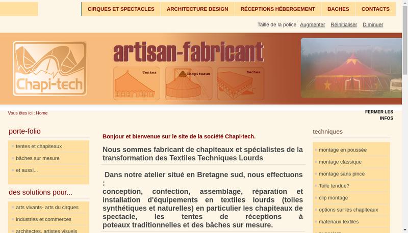 Capture d'écran du site de Chapi Tech