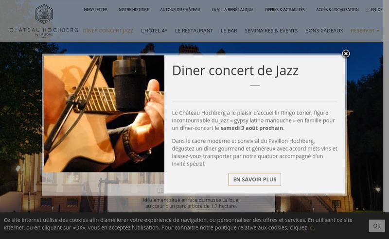 Capture d'écran du site de Chateau Hochberg SAS