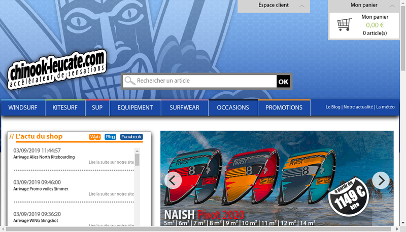 Capture d'écran du site de Chin Ook Surfshoop