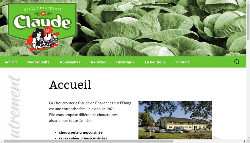 Capture d'écran du site de Choucrouterie Claude SARL