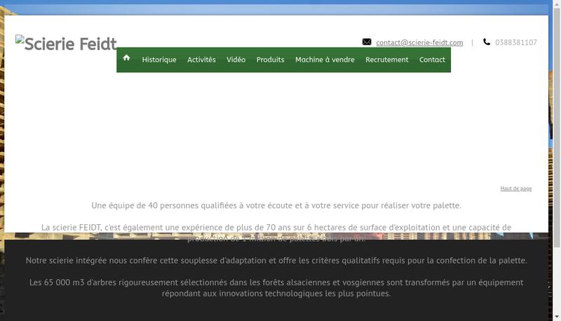 Capture d'écran du site de Scierie Feidt SA